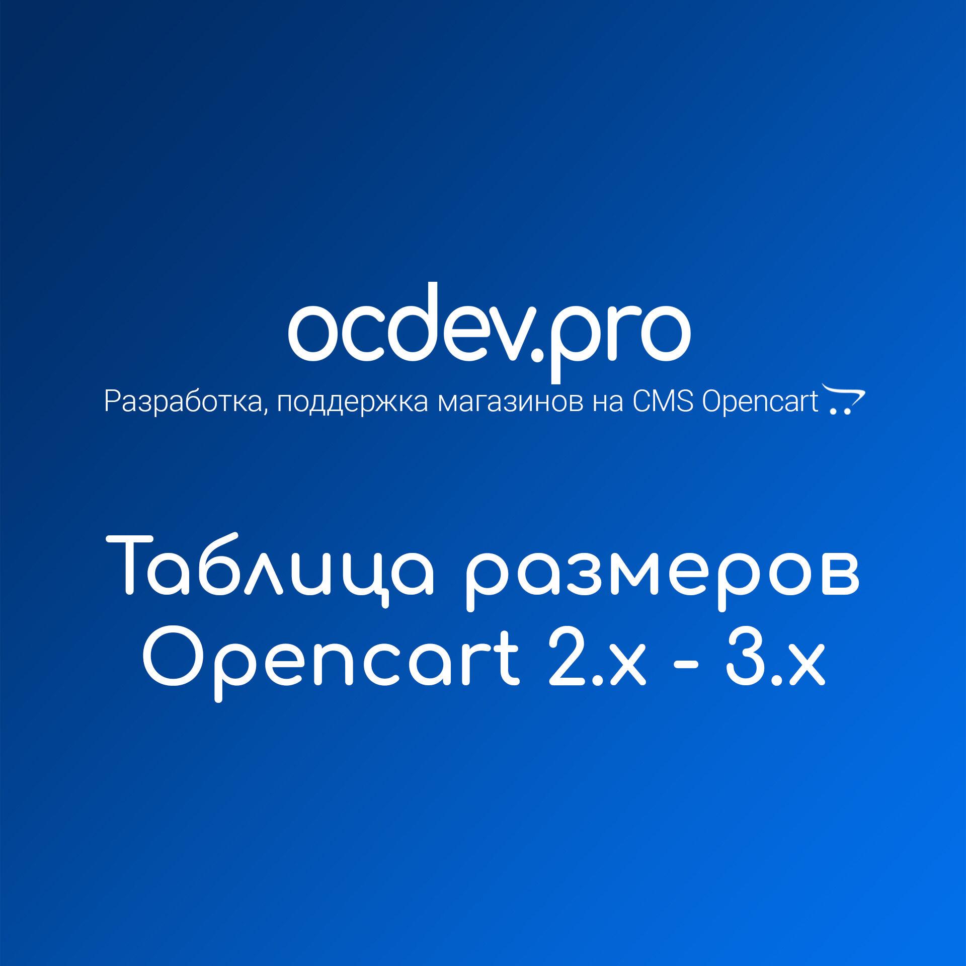 OCDEV.pro - Таблица размеров Opencart
